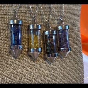 Gemstone Vial Necklace